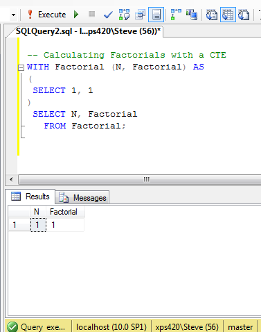 Calculating Factorials with a Recursive CTE - Steve Stedman