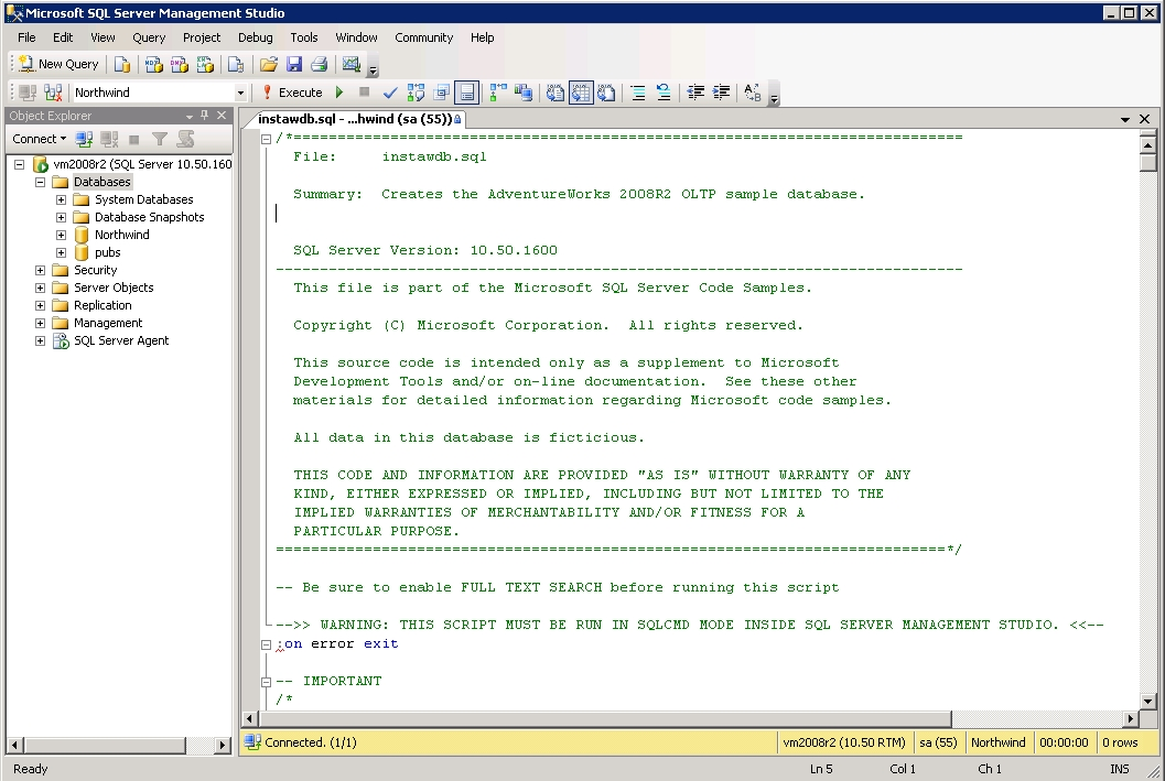 Installing Sample Databases for SQL Server 2008R2 - Steve Stedman