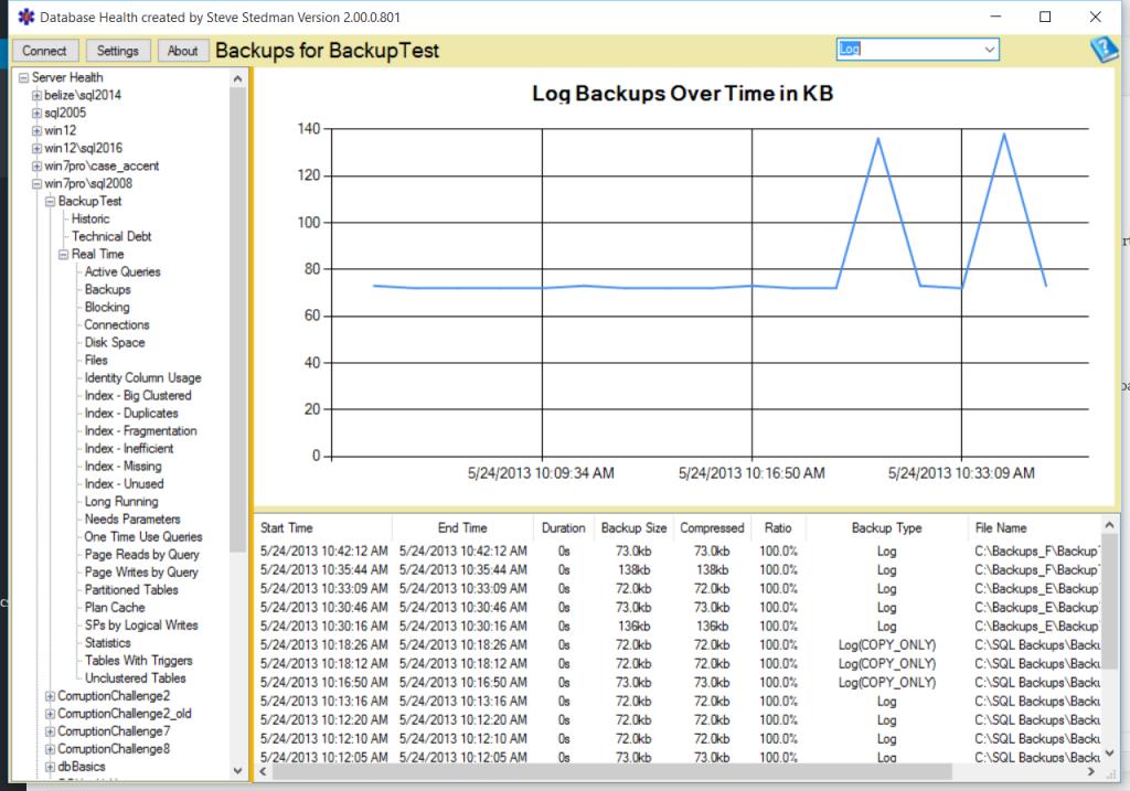 Database Health Monitor Backups