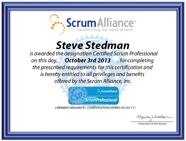 i just passed the certified scrum professional exam - steve stedman