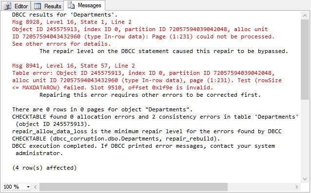 DBCC CheckDB repair failed